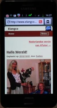 Mobiele website van Elangco